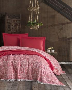 Cuvertura jacquard cu franjuri bumbac 100%, 240 x 260cm, Eponj Home, Nish - Red