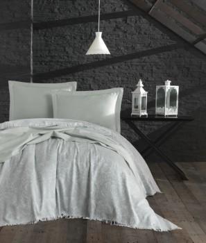 Cuvertura jacquard cu franjuri bumbac 100%, 240 x 260cm, Eponj Home, Nish - Water Green