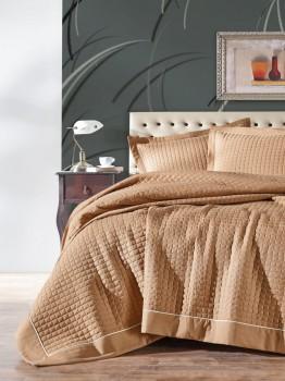 Cuvertura pat matlasata 180x230cm, Cotton Box, Diamond Mustard