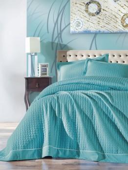 Cuvertura pat matlasata 180x230cm, Cotton Box, Diamond Turquoise