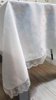 Fata de masa Golden Laurel cu dantela,  160x320cm, alba