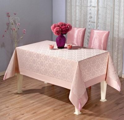 Fata de masa damasc jacquard cu ciucuri 140x180cm, roz