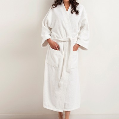 Halat de baie unisex bumbac 100% frotir, guler kimono, marime L, alb