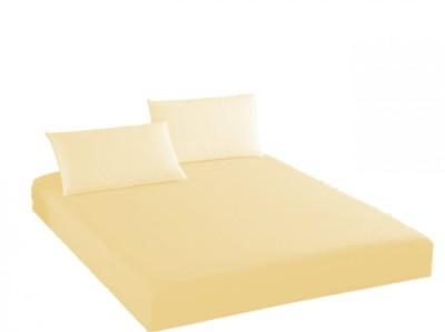 Husa de pat cu elastic + 1 fata de perna Ralex Pucioasa, 100x200cm, 100% bumbac, crem