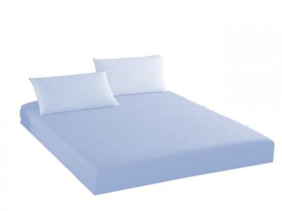 Husa de pat cu elastic + 1 fata de perna Ralex Pucioasa, 100x200cm, 100% bumbac,albastru