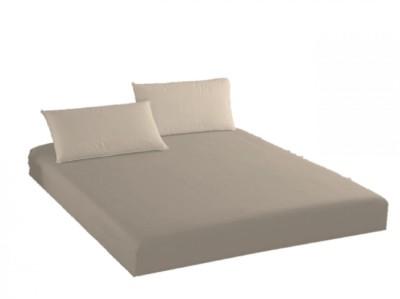 Husa de pat cu elastic + 2 fete de perna Ralex Pucioasa, 140x200cm, 100% bumbac,maro