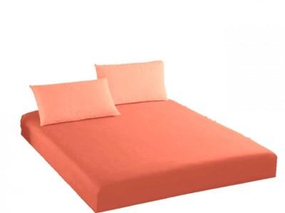 Husa de pat cu elastic + 2 fete de perna Ralex Pucioasa, 140x200cm, 100% bumbac,portocaliu