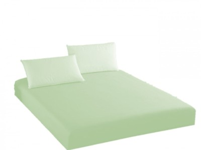 Husa de pat cu elastic + 2 fete de perna Ralex Pucioasa, 160x200cm, 100% bumbac,verde