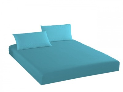 Husa de pat cu elastic + 2 fete de perna Ralex Pucioasa, 180x200cm, 100% bumbac,turcoaz