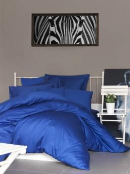 Cearceaf de pat satin cu elastic bumbac 100%, 140x200cm, albastru inchis