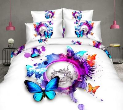 Lenjerie de pat 3D digital print, Ralex Pucioasa, Rainbow Butterfly + fata de masa cadou Natur 140x220cm