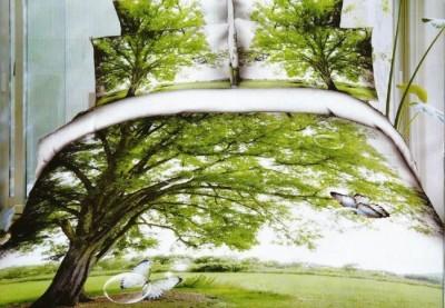 Lenjerie de pat 3D digital print, Ralex Pucioasa, Tree + fata de masa cadou Natur 140x220cm
