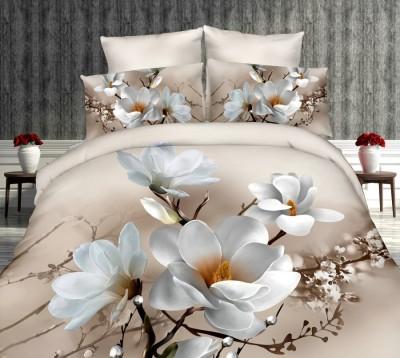 Lenjerie de pat 3D digital print, Ralex Pucioasa, White magnolia  + fata de masa cadou Natur 140x220cm