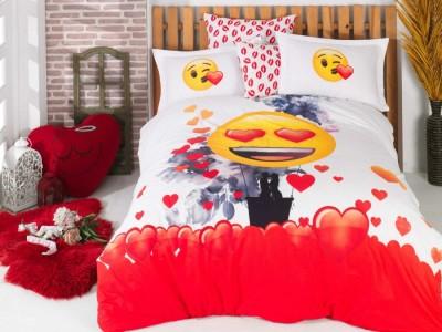Lenjerie de pat bumbac 100% poplin, Hobby Home, Emoji Kiss