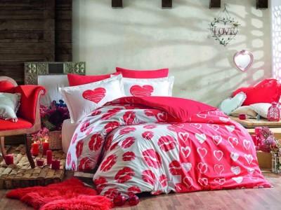 Lenjerie de pat bumbac 100% poplin, Hobby Home, Love Me - Red