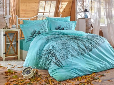 Lenjerie de pat bumbac 100% poplin, Hobby Home, Margherita - Turquoise