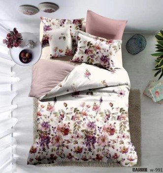 Lenjerie de pat bumbac 100% poplin satinat 3D, Ralex Pucioasa, Pink Flowers