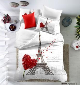 Lenjerie de pat bumbac 100% poplin satinat 3D , Ralex Pucioasa, Paris Love v03