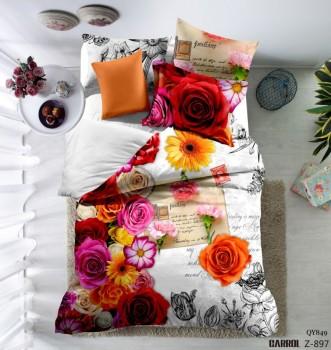 Lenjerie de pat bumbac 100% poplin satinat 3D , Ralex Pucioasa, Happy Flowers