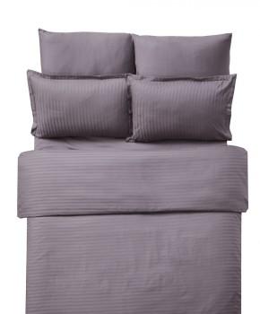 Lenjerie de pat damasc 1 persoana culoarea maro