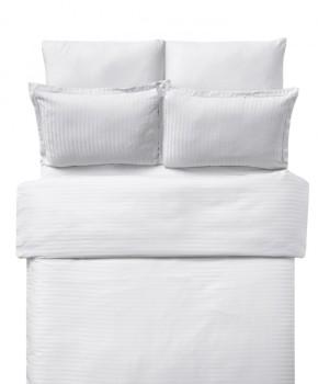 Lenjerie de pat damasc cu elastic ptr saltea de 100cm - alb