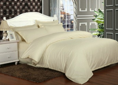 Lenjerie de pat damasc cu elastic ptr saltea de 100cm - crem