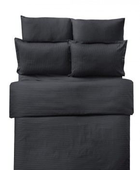Lenjerie de pat damasc cu elastic ptr saltea de 100cm - negru