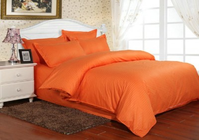 Lenjerie de pat damasc cu elastic ptr saltea de 100cm - portocaliu