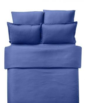 Lenjerie de pat damasc cu elastic ptr saltea de 140cm - albastru