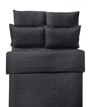 Lenjerie de pat damasc cu elastic ptr saltea de 140cm - negru