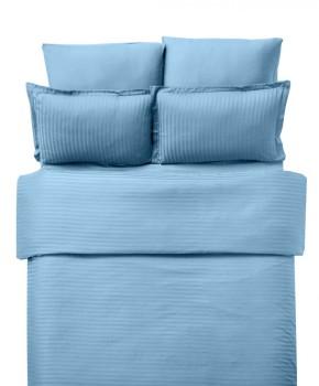 Lenjerie de pat damasc cu elastic ptr saltea de 140cm - turcoaz