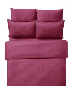 Lenjerie de pat damasc cu elastic ptr saltea de 160cm - bordo