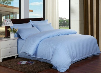 Lenjerie de pat damasc cu elastic ptr saltea de 180cm - bleu