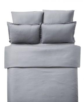 Lenjerie de pat damasc cu elastic ptr saltea de 180cm - gri