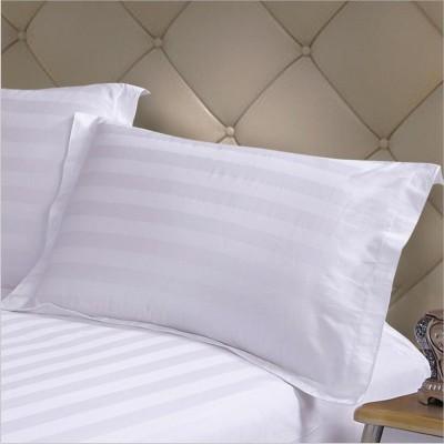 Lenjerie de pat  damasc Dublu SATINAT culoarea alba - dunga de 3 cm