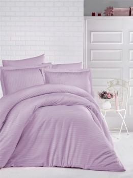 Lenjerie de pat damasc gros cu elastic ptr saltea de 100x200cm - Lila