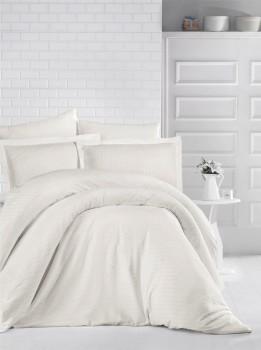 Lenjerie de pat damasc gros cu elastic ptr saltea de 140x200cm - Crem