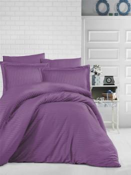 Lenjerie de pat damasc gros cu elastic ptr saltea de 140x200cm - Mov