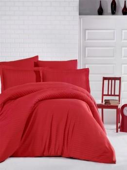 Lenjerie de pat damasc gros cu elastic ptr saltea de 140x200cm - Rosu