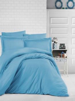 Lenjerie de pat damasc gros cu elastic ptr saltea de 140x200cm - Turcoaz