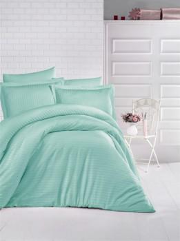 Lenjerie de pat damasc gros cu elastic ptr saltea de 160x200cm - Mint
