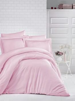 Lenjerie de pat damasc gros cu elastic ptr saltea de 180x200cm - Roz Pudra