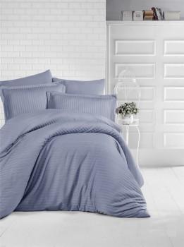 Lenjerie de pat damasc gros cu elastic ptr saltea de 180x200cm - Antracit