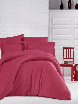 Lenjerie de pat damasc gros cu elastic ptr saltea de 180x200cm - Bordo