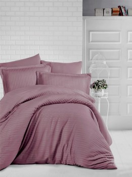 Lenjerie de pat damasc gros cu elastic ptr saltea de 180x200cm - Brown