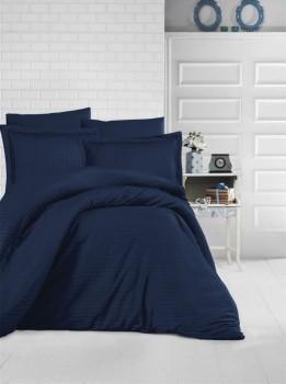 Lenjerie de pat damasc satinat culoarea bleumarin