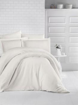 Lenjerie de pat damasc satinat culoarea crem
