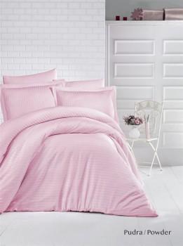 Lenjerie de pat damasc satinat culoarea roz pudra