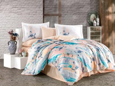 Lenjerie de pat dublu bumbac 100% satin de lux, Hobby Home, Brisha - Turquoise