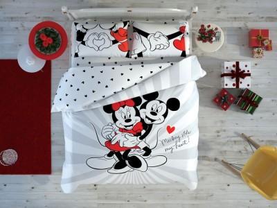 Lenjerie de pat dublu cu elemente fosforescente, Tac Disney Minnie & Mickey, Love Day